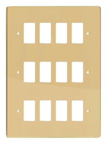Varilight XDVPG12 PowerGrid Polished Brass 12 Gang Grid Plate (Triple Twin Plate)